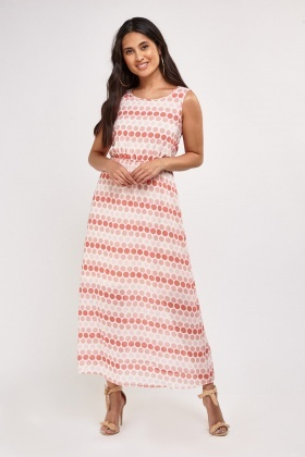 Polka Dotted Sheer Maxi Dress