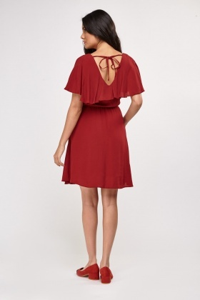 Ruffle Overlay Tea Dress