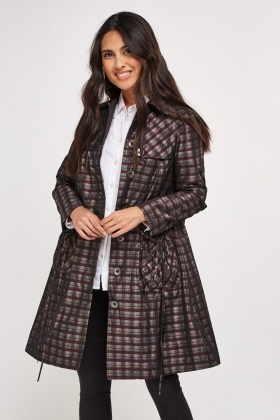 Structured Tartan Trench Coat