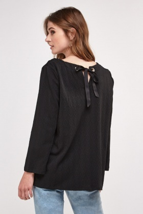 Textured Ribbon Tie Back Top