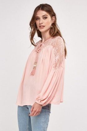 Tie Up Lace Insert Blouse