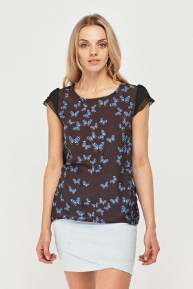 Contrast Butterfly Print Top