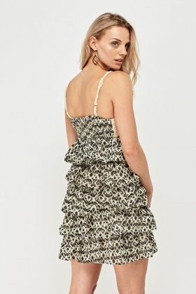 Crochet Printed Tiered Dress