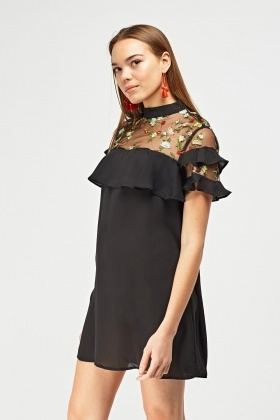 Embroidered Net Frilly Chiffon Dress