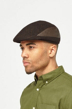 Faux Leather Contrast Flat Cap
