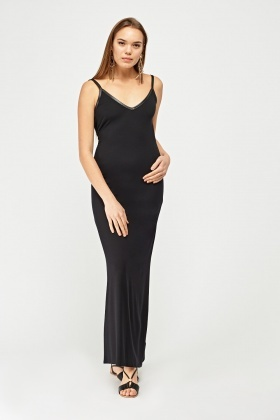 Faux Leather Trim Maxi Dress