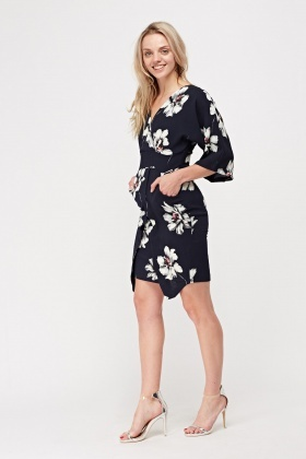 Flower Printed Wrap Dress