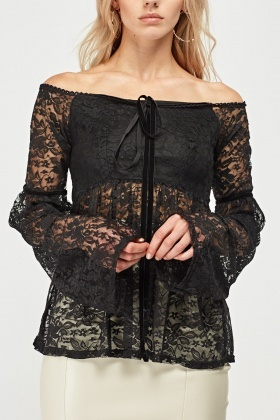 Frilly Bell Sleeve Lace Top