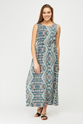 Mix Tile Printed Maxi Dress