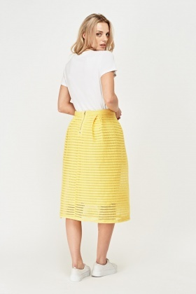 Perforated A-Line Midi Skirt