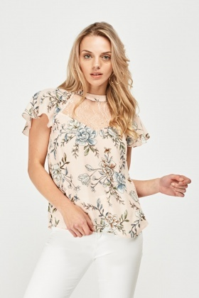 Printed Lace Insert Chiffon Top
