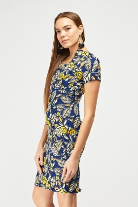 Retro Print Woven Pencil Dress