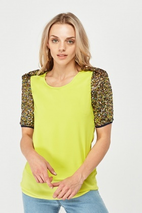 Sequin Contrast Sleeve Sheer Top