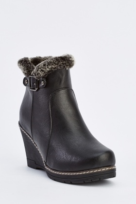 Buckled Side Wedge Ankle Boots