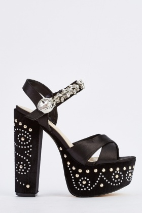 Contrast Crossed Strap Platform Shoes