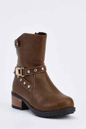 Detailed Faux Leather Boots