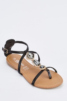 Embellished Cross T-Bar Flat Sandals