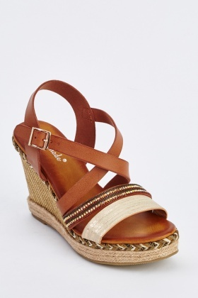 Embellished Faux Leather Wedge Sandals