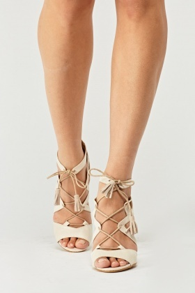 Faux Leather Tie Up Heels