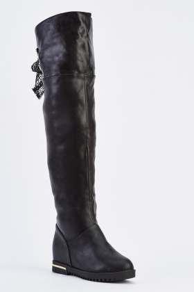 Flat Lace Up Back Over The Knee Boots