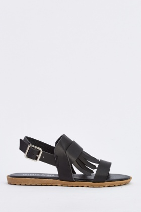 Fringed Front Faux Leather Sandals