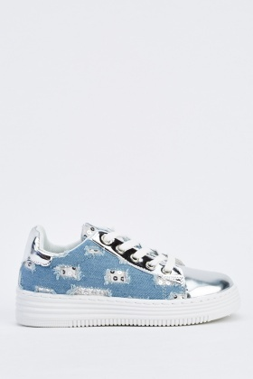 Metallic Denim Contrast Platform Trainers