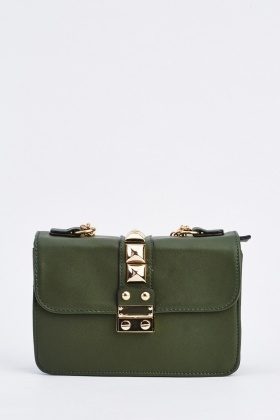 Studded Faux Leather Shoulder Handbag