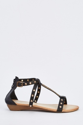 Studded Flat Faux Leather Sandals