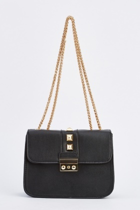 Studded Gold Chain Baguette Bag