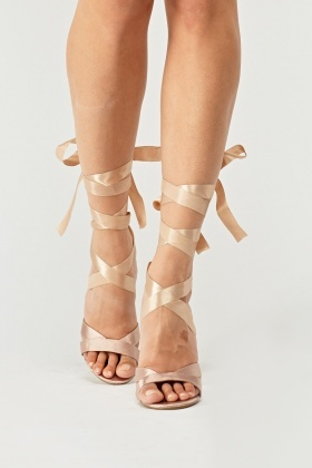 Tie Up Ribbon High Heel Sandals