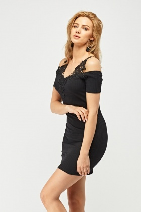 Crochet Insert Ribbed Bodycon Dress