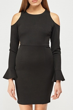 Cut Out Shoulder Midi Dress