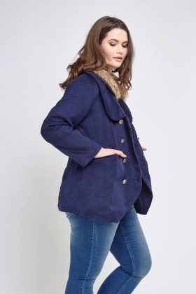 Double Breasted Faux Fur Collar Jacket