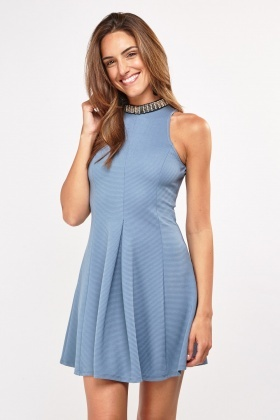 Embellished Neck Detail Skater Dress
