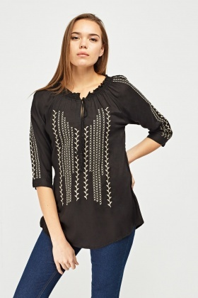 Embroidered Tassel Front Boho Top