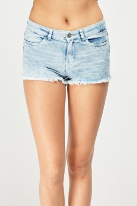 Faded Raw Edge Hot Pants