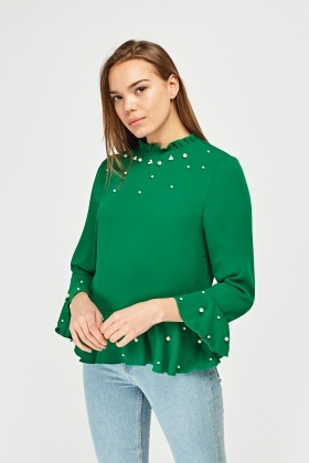 Faux Pearl Frilly Blouse