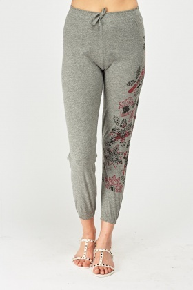 Flower Printed Casual Joggers