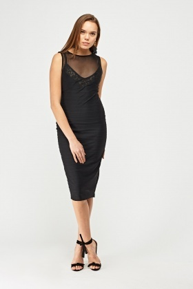 Mesh Contrast Sweetheart Bodycon Dress