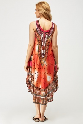 Mixed Tribal Print Tunic Dress