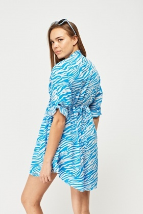 Pleated Print Sheer Blouse