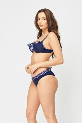 Printed Frilly Bikini Set