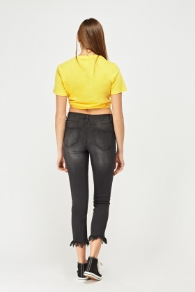 Raw Edge Cropped Ankle Jeans