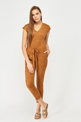 Slim Fit Faux Suede Jumpsuit