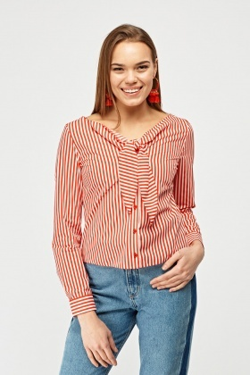Striped Tie Up Neck Shirt