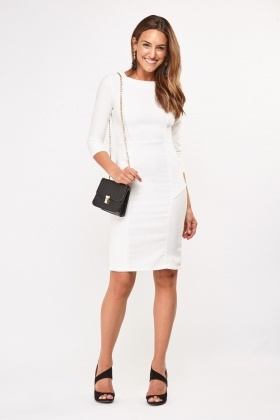 Textured Princess Line Midi Dress
