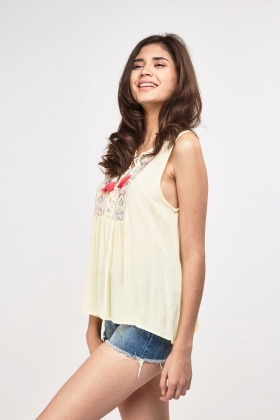 Embroidered Lace Up Crinkle Top