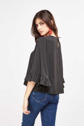 Frilly Trumpet Sleeve Sheer Blouse