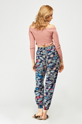 Leaf Printed Tapered Trousers
