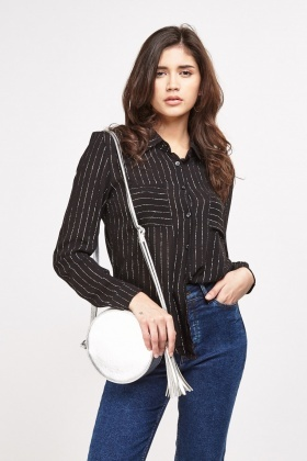 Metallic Stripe Sheer Shirt